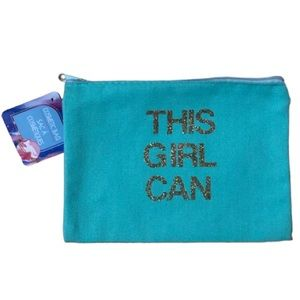 "2 for $15 ""This Girl Can"" Canvas Cosmetic Bag NWT"